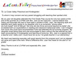 school review - la costa valley preschool and kindergarten - Summer Kindergarten and First Grade Academic Preparation Program