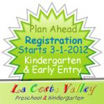 Plan ahead for march 1 2012 early entry kindergarten and kindergarten class registration at La Costa Valley Preschool and kindergarten