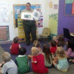 dog safety lesson from Officer Harrison at La Costa Valley Preschool and Kindergarten