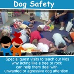 learning about dog safety with Officer Harrison how to treat dog, plus how to recognize agressive dogs and what to do if threatened or attacked by a dog.