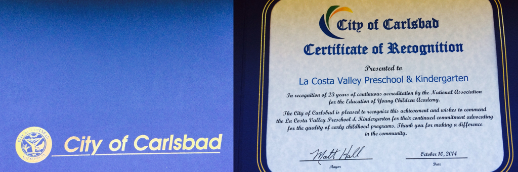 Mayor of The City of Carlsbad presented a certificate of recognition