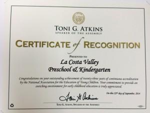 La Costa Valley Preschool & Kindergarten – Receives Recognition